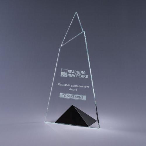 Skyward Clear Optical Crystal Plaque with Black Triangle Base