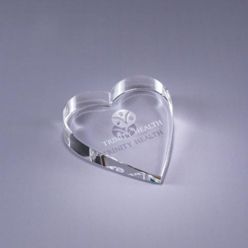 Clear Optical Crystal Heart Shape Paperweight
