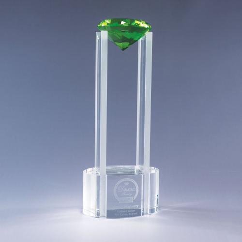 Sky Diamond Clear Optical Crystal Tower Award with Green Diamod