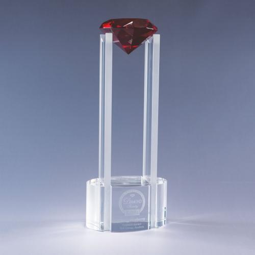 Sky Diamond Clear Optical Crystal Tower Award with Red Diamond