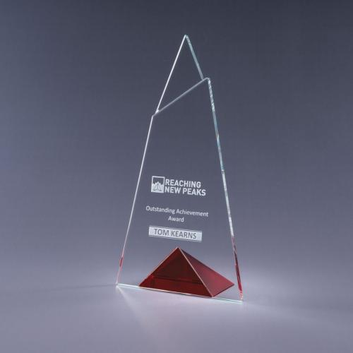 Skyward Clear Optical Crystal Plaque with Red Triangle Base