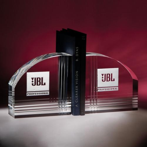 Foundation Curved Edge Optical Crystal Bookends