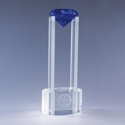 Sky Diamond Clear Optical Crystal Tower Award with Blue Diamond