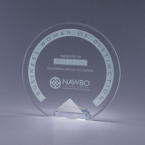 Cyrk Clear Optical Crystal Circle Award on Clear Pyramid Base