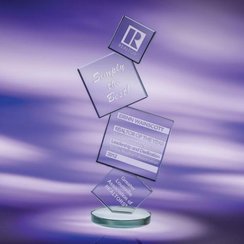 Array Stacked Squares Clear Jade Crystal Award
