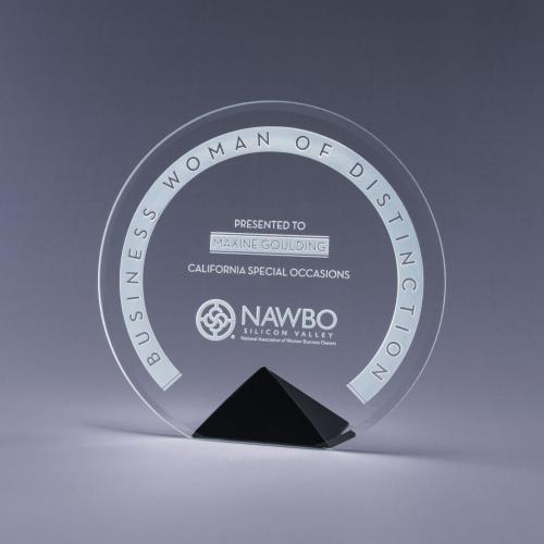 Cyrk Clear Optical Crystal Circle Award on Black Pyramid Base