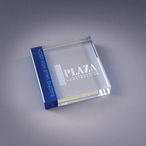 Variations Blue & Clear Optical Crystal Paperweight