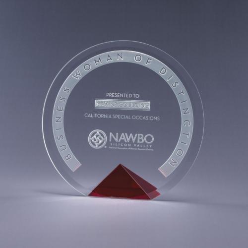 Cyrk Clear Optical Crystal Circle Award on Red Pyramid Base