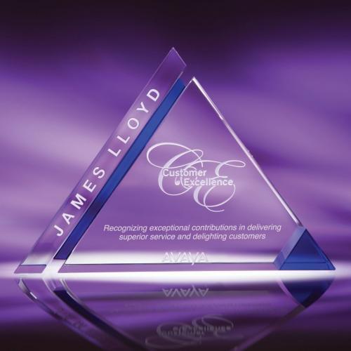 Imagery Clear & Blue Optical Crystal Pyramid Award