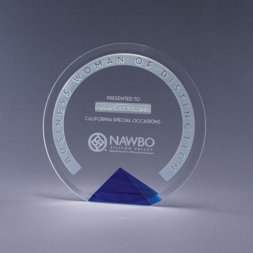 Cyrk Clear Optical Crystal Circle Award on Blue Pyramid Base