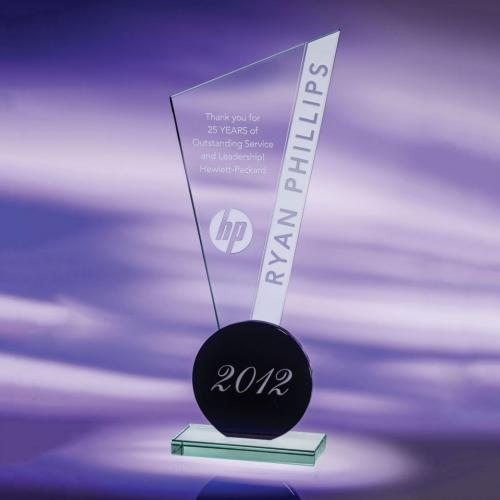 Clear & Black Jade Glass Exclamation Point Award