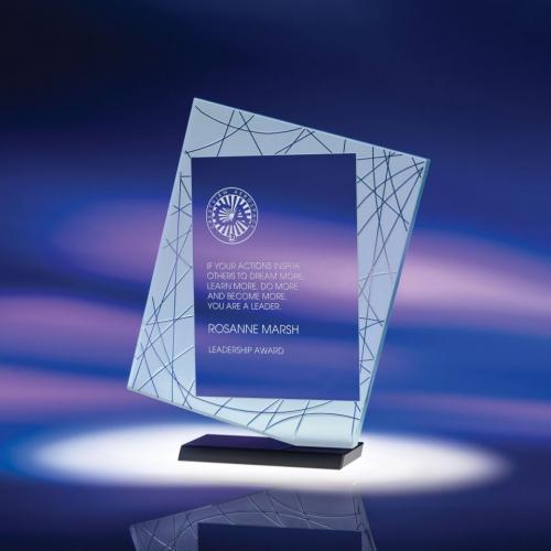 Direction Jade Glass Award on Black Optical Crystal Base