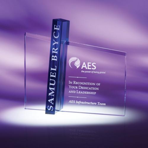 Acumen Clear Engravable Optical Crystal Award with Blue Highlight
