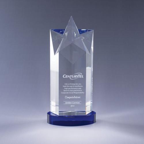 Optical Crystal Rising Star Tower Award on Blue Base
