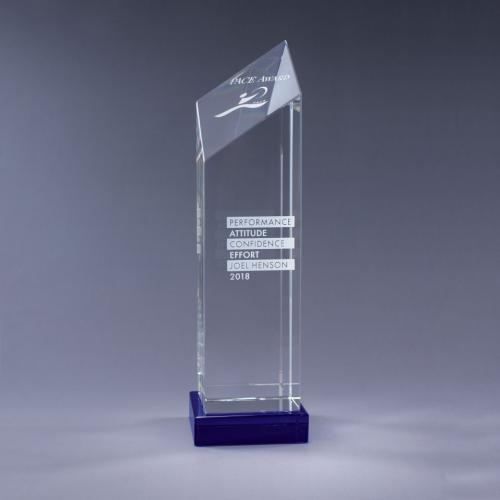 Encore Optical Crystal Diamond Tower with blue Base