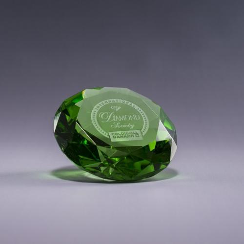 Green Optical Crystal Diamond Paperweight