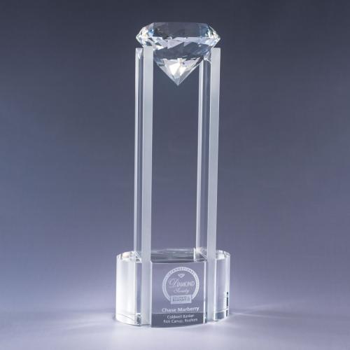 Sky Diamond Clear Optical Crystal Tower Award with Clear Diamond
