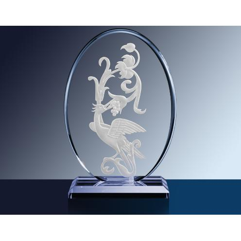 Clear Vertical Oval Glass Award