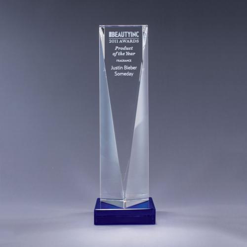 Optical Crystal Triangle Tower Award on Blue Base