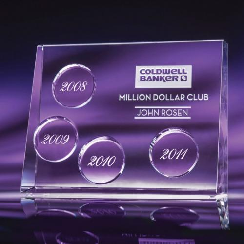 Progression Perpetual Optical Crystal Award with Clear Date Blocks