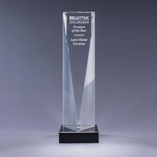 Optical Crystal Triangle Tower Award on Black Base