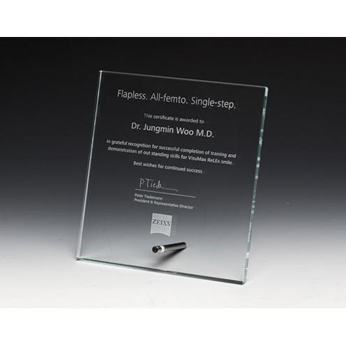 Clear Optical Crystal Square Plaque