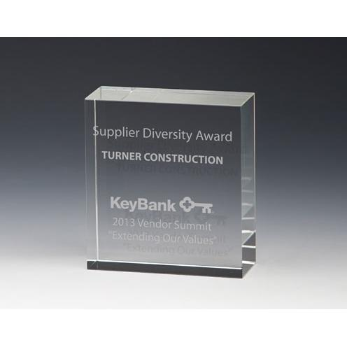 Simple Square Crystal Block Award