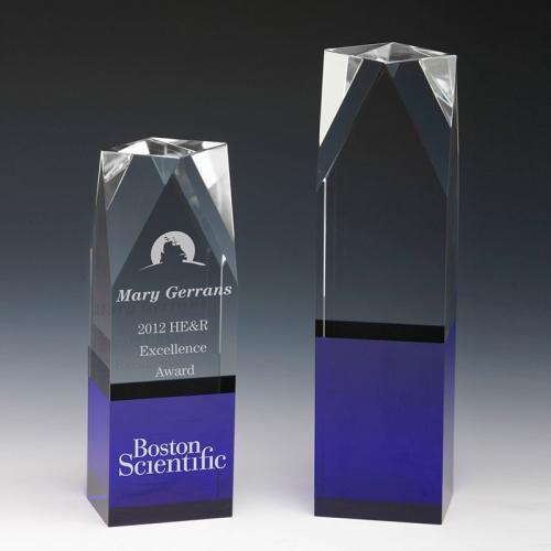 Clear & Blue Optical Crystal Building Award