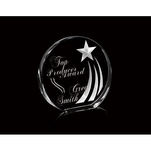 Azure Optical Crystal Circle Award with 3D Shooting Star