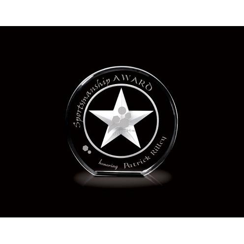 Afterglow Optical Crystal Circle Award with 3D Star Pattern