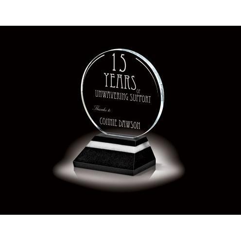 Optica Disk Crystal Circle Award on Granite Base