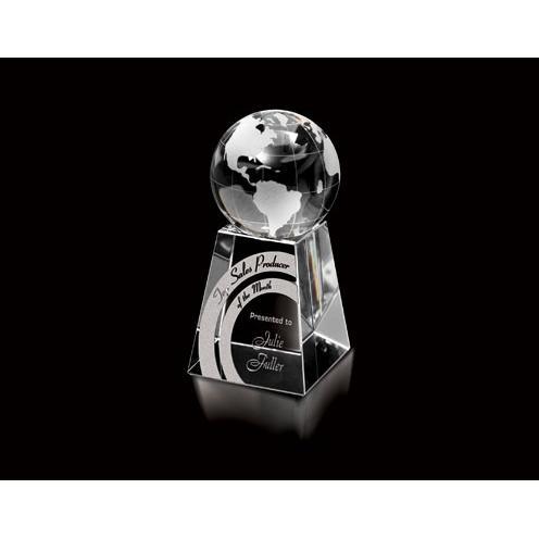 Optical Crystal Globe Award on Crystal Base