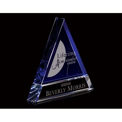 Optical Crystal Pyramid Award with Blue Accents