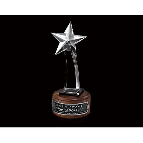 Crystal Shooting Star Award on Wood Base