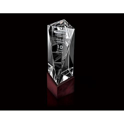 Balboa Optical Crystal Obelisk Award on Cherry Wood