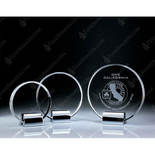 Clear Crystal Circle Plaque on Base