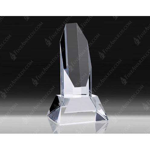 Crystal Octagon Tower Award w/Base