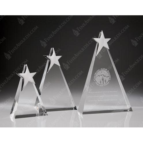 Clear Crystal Star Triangle Plaque