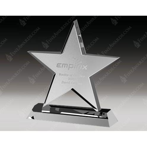 Clear Crystal Star Award with Base