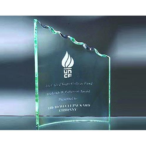 Jade Glass Clipped Cresent Award