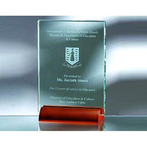 Green Jade Glass Award with Wood Base