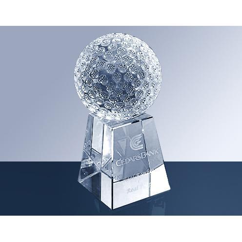 Clear Crystal Golf Ball Award with Tall Base