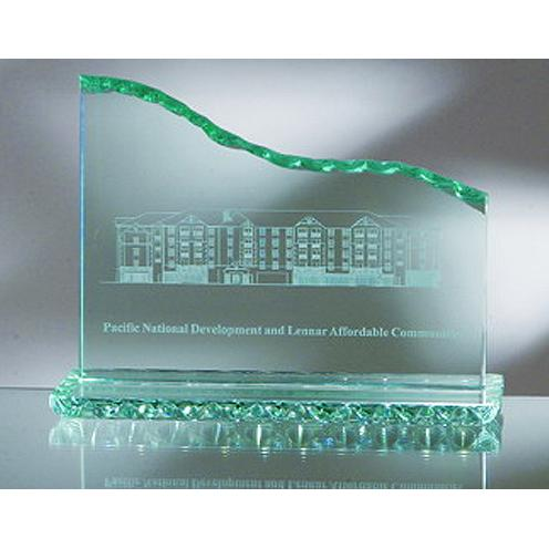 HP Green Jade Glass Horizontal Wave Award