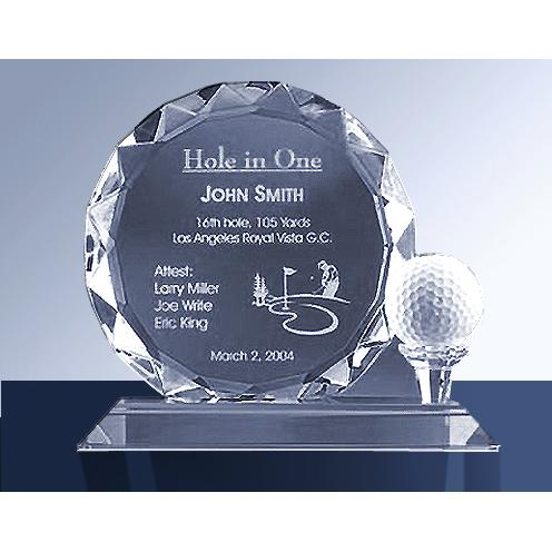 Crystal Golf Trophy with White Golf Ball