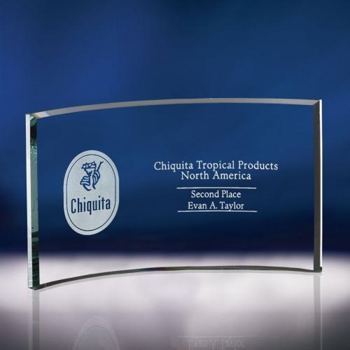 Clear Optical Crystal & Glass Cresent Award
