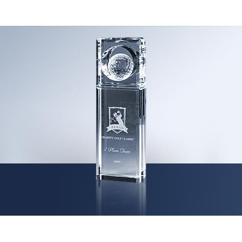 Absolute Crystal Circle Golf Trophy Award with White Golf Ball