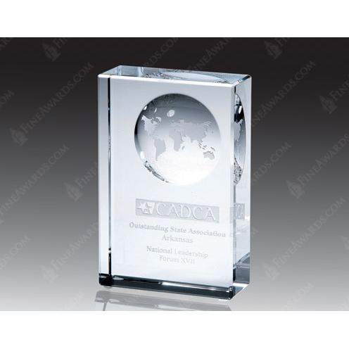 Clear Optical Crystal Block Globe Award