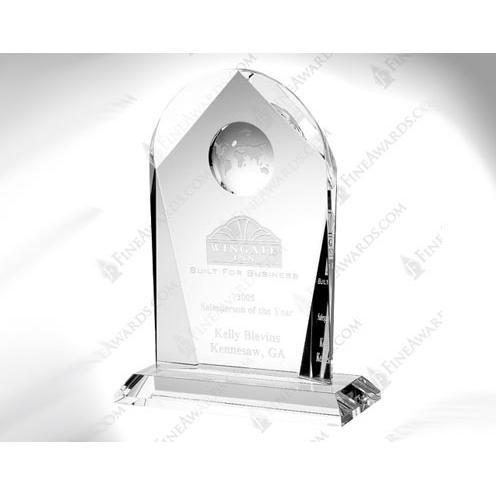 Clear Crystal Arch Globe Award