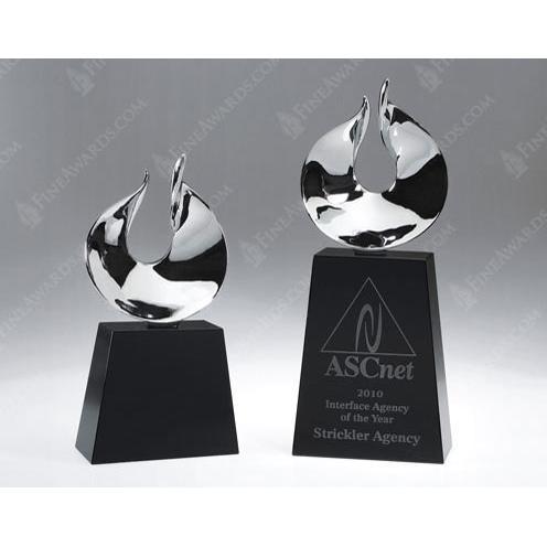 Global Celebration Crystal Award with Chrome Flame