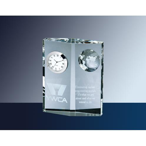 Clear Optical Crystal Globe Clock